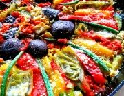 Beautiful presentation of a rice side dish and veggies