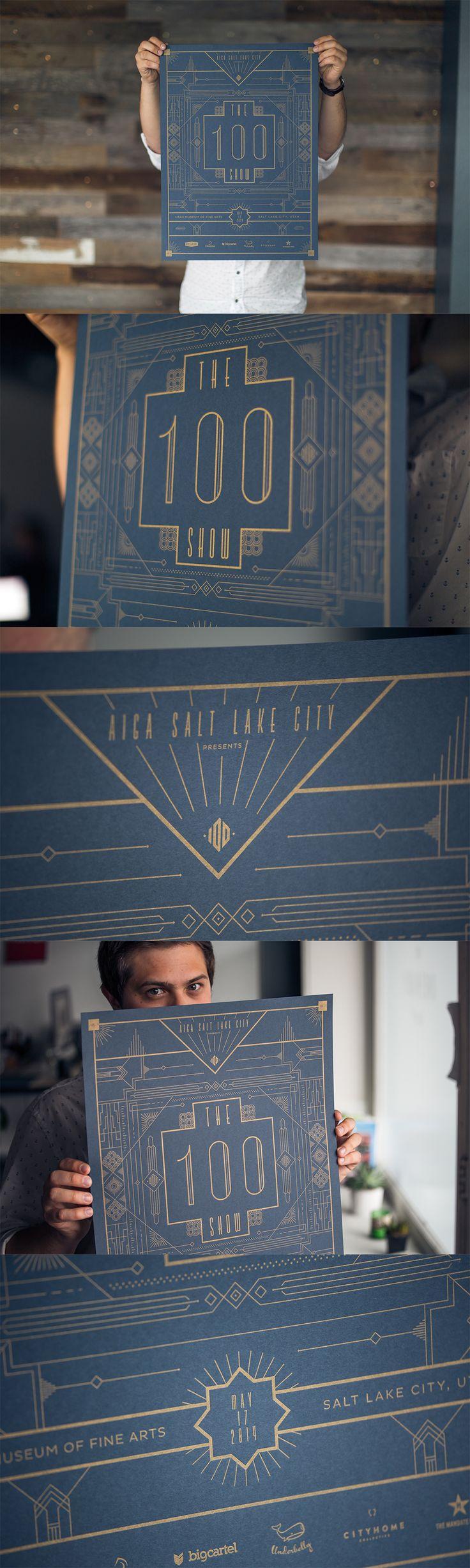 AIGA 100 Show Event Poster // Salt Lake City // Design by Underbelly マットな紺色と光沢の金。 この組み合わせが効果的な 細い線だけで創るビジュアル。