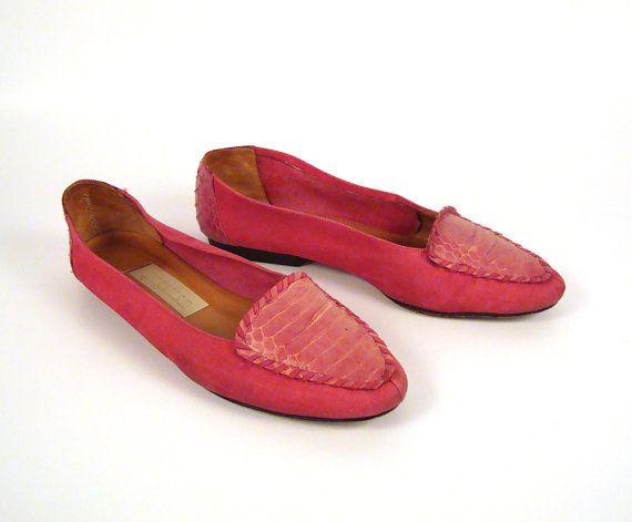 Nordstrom Flats Shoes Vintage 1980s Pink Snakeskin by ...