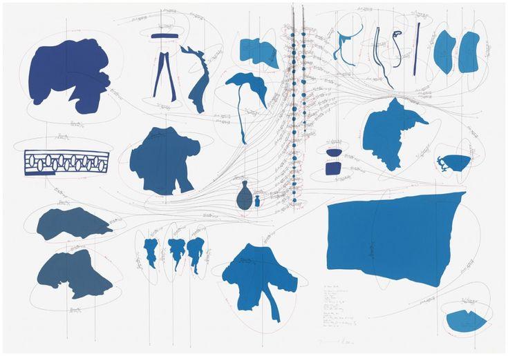 WV 2011-220 55 Views Blue Love Games in a Secluded Jorinde Voigt Garden; The Secret Observer; Love Games; Subtle Pleasures; Notalgia; Late Version of Jin Ping Mei; China, 16th – 20th century Himmelsrichtung N-S; Deklination: Windrichtung/ Windstärke 1-55 km/h; Deklination: Rotationsrichtung/ 1-55 Umdrehungen pro Tag; Dauer: Heute → ∞ Jorinde Voigt Berlin 2011 140 x 200 cm Farbiges Velin- & Ingrespapier, Beistift, Tinte auf Aquarellpapier Unikat Signiert