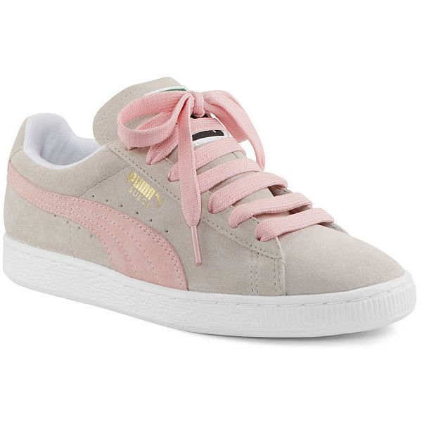 Victoria's Secret Suede Classic Sneakers ($59) ❤ liked on Polyvore featuring shoes, sneakers, grey, suede shoes, grey suede shoes, puma footwear, lacing sneakers and puma sneakers