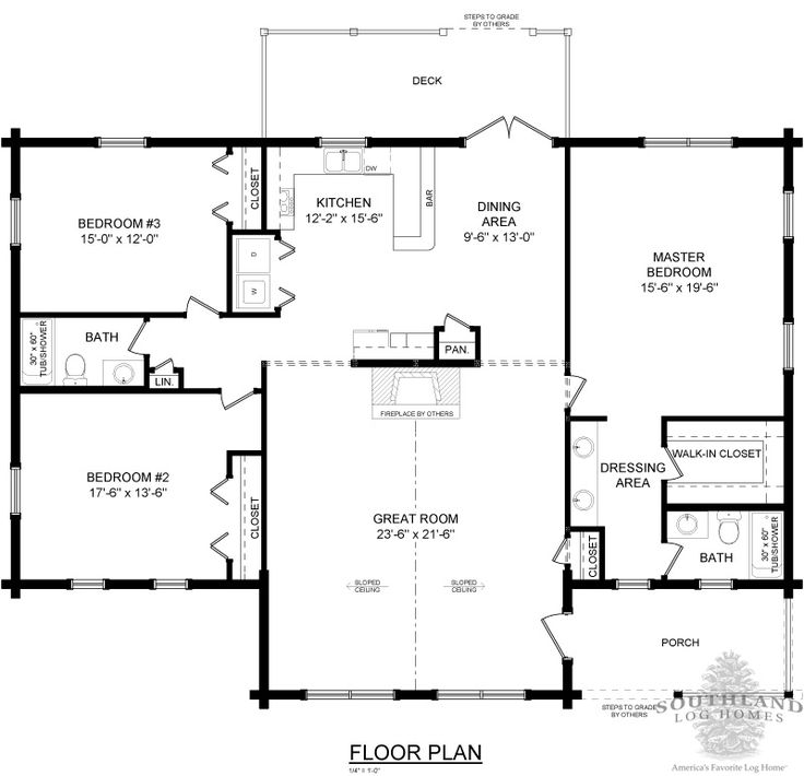 The texan is one of the many log cabin home plans from for Free log cabin floor plans