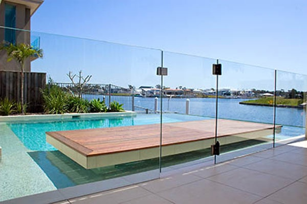 Frameless Glass Pool Panels with a hinged gate