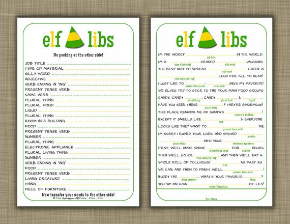 Elf christmas mad libs holiday party game by thehomespunartisan 11