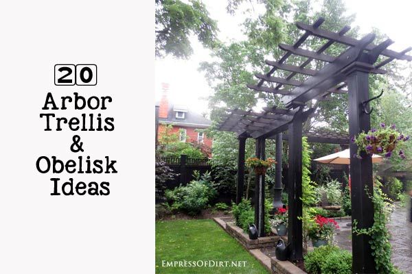 20+ Ways to add vertical interest in the garden with arbors, trellis, obelisks, screens, and other DIY structures.