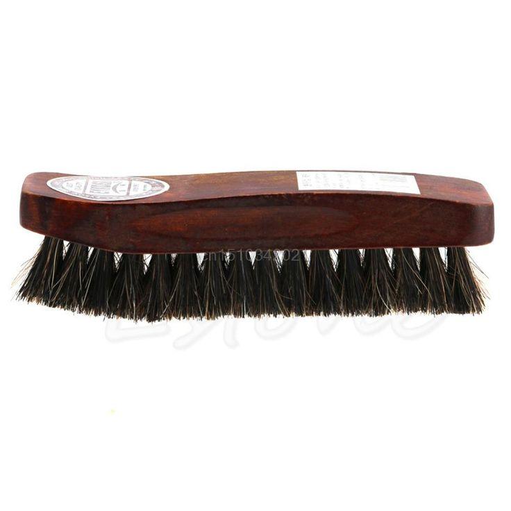 [Visit to Buy] Professional Wooden Brush Natural Bristle Horse Hair Shoe Shine Polish Buffing Brush Wooden #Advertisement