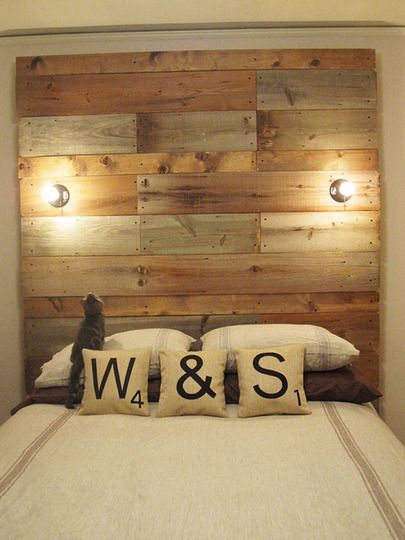 Creative Bedroom Decorating Ideas With Recycling DIY Pallet Headboard And Simple Wall
