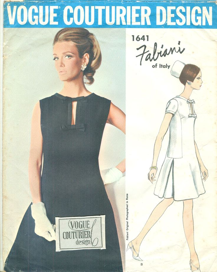 Vogue Couturier Design 1641 Fabiani Vintage 1960s Keyhole Dress Pattern B34