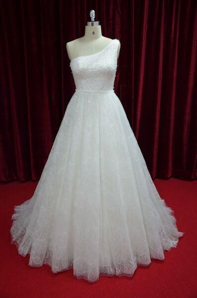 One-Shoulder Sequin Lace Wedding Dress Custom-Made Bridal A-Line Gown  JY13020