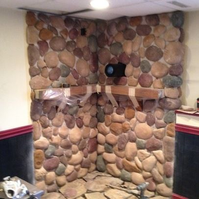 woodstove surround | Cultured Stone over