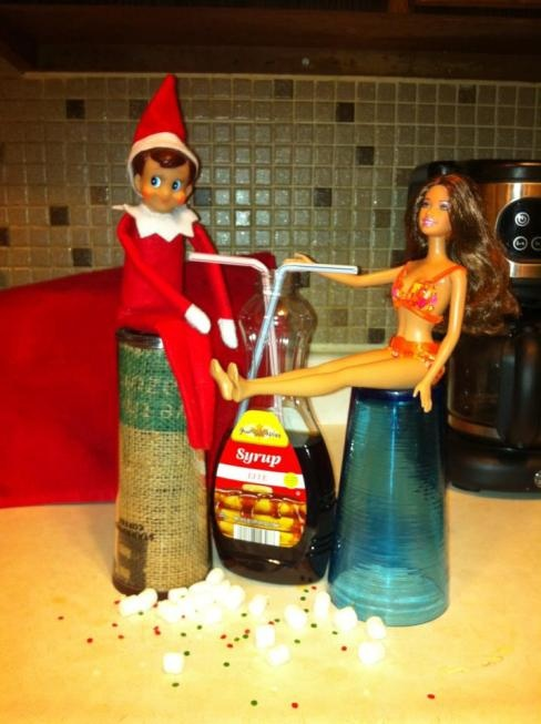 Elf on the Shelf Ideas - Sippin' on some Syrup