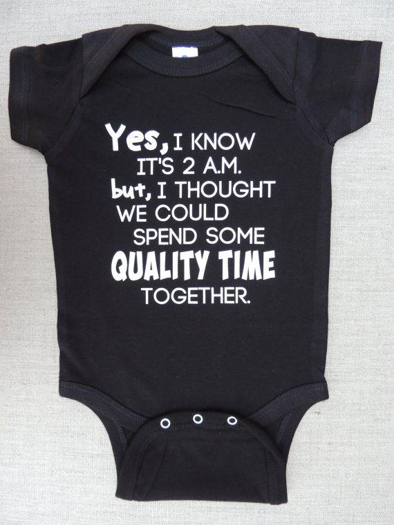 """Onesie """"Yes, I Know It's 2 a.m."""" for Boys or Girls - Black Bodysuit - Sizes 6 Months to 18 Months"""