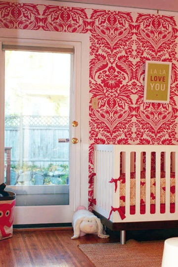 Pink Damask Wallpaper omg! Only thing I'll never hve a door like