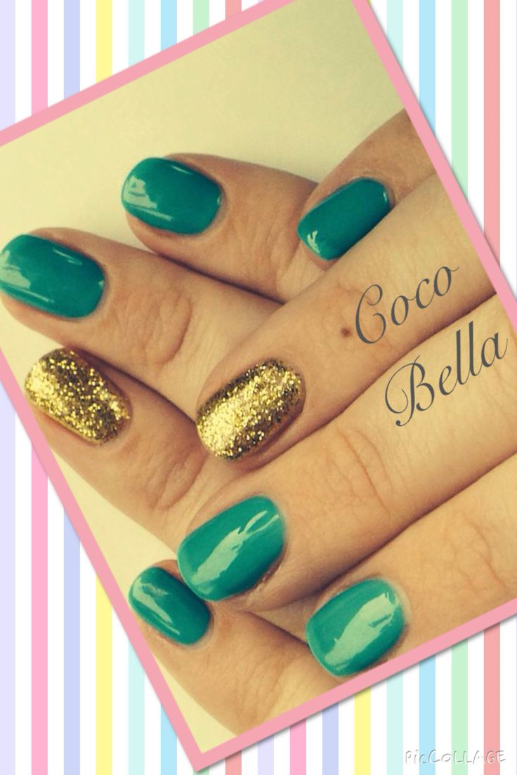 Teal and gold sparkle Gelish