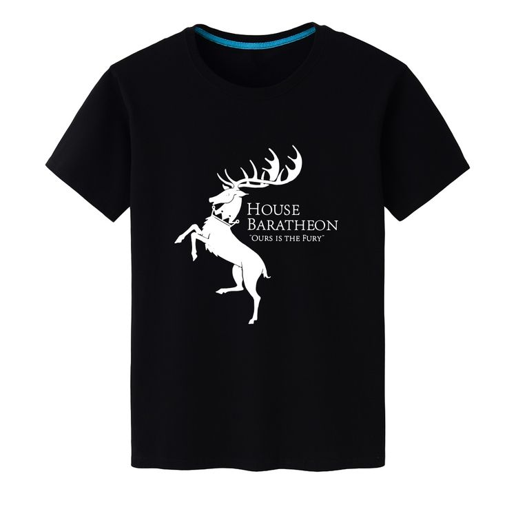 2017 New Summer Unisex Game of Thrones House Baratheon Casual Top Tees Modal Black T-shirt Short-sleeved Shirt - Direwolf Shop Direwolf Shop