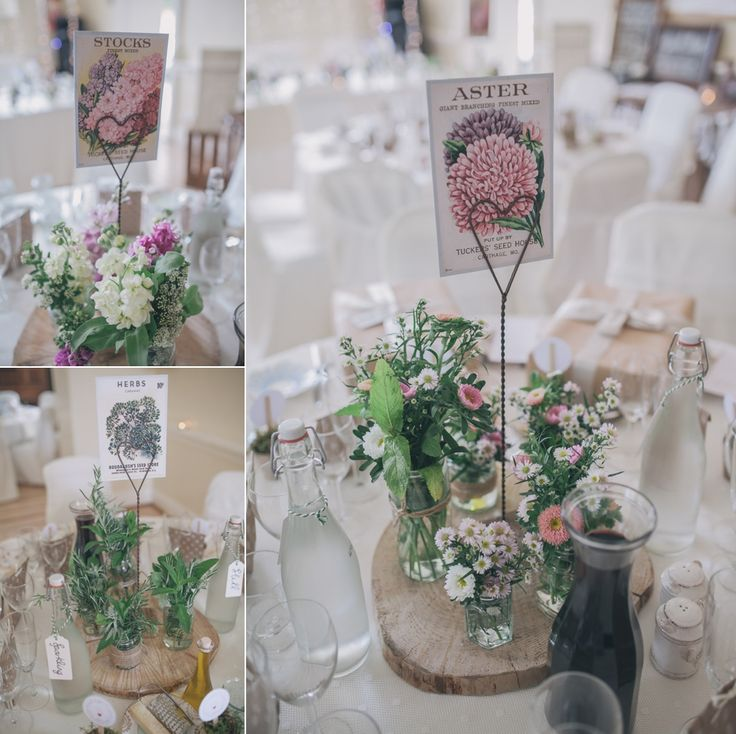 Tables styled with wild flowers and herbs for a Vintage Inspired Village Hall Wedding   http://www.sallytphotography.com/