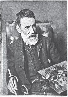 A PHOTO of Nikiforos Lytras,  a nineteenth-century Greek painter 1832-1904. He became a professor at the School of Arts of Munich, till the end of his life.  He remained faithful to the precepts and principles of the Munich School movement, while paying greatest attention both to ethographic themes and portraiture. His most famous portrait was of the royal couple, Otto and Amalia, and his most well-known landscape a depiction of the region of Lavrio.