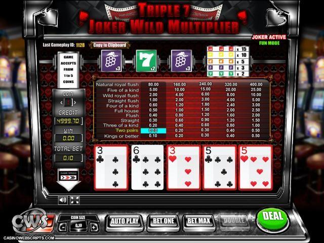 Buy Casino Video Poker Game Triple 7 Joker Wild Slot Multiplier Videopoker card