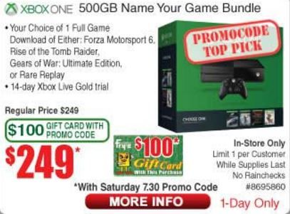 Xbox One Name Your Game Bundle (500GB)  $100 Fry's Gift Card -- $249 (In-Store w/Personal Code) at Fry's #LavaHot http://www.lavahotdeals.com/us/cheap/xbox-game-bundle-500gb-100-frys-gift-card/109183