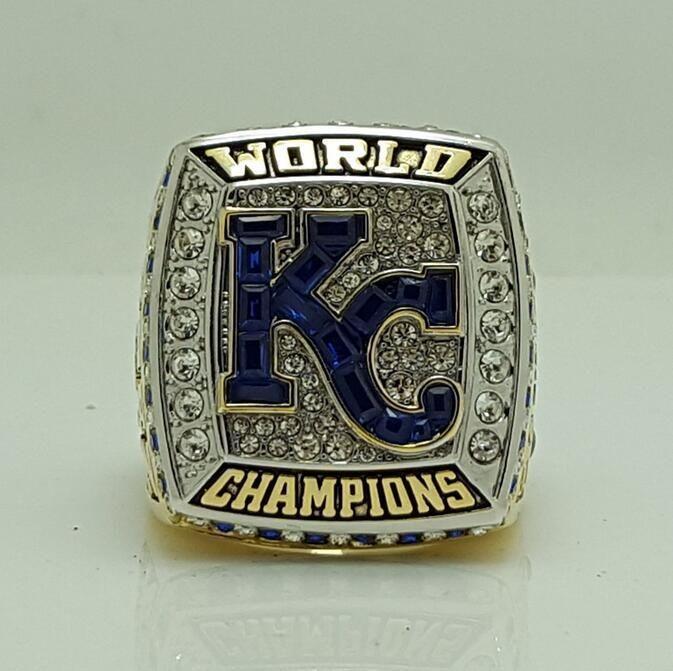 New Version Of Rectangle Stone Front 2015 Kansas City Royals World Series Baseball Championship Ring 8-14 Size Free Shipping