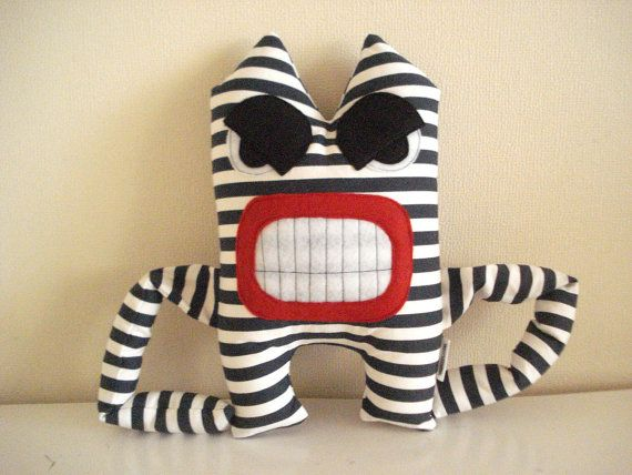 Angry Monster with Blue Stripes, stuffed toys, Plushie, Softie on Etsy, $29.00