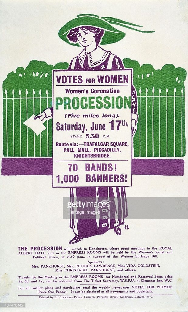 Handbill advertising the Women's Coronation Procession on Saturday 17 June, 1911. A suffragette is taking part in a 'poster parade'. Her sandwich board is advertising the procession and the handbill gives details of the 'monster' rally to be held afterwards, with speakers including Christabel and Emmeline Pankhurst. The bill was printed in the suffragette colours of purple, green and white.