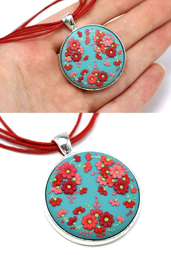Floral Pendant Necklace Turquoise Red Necklace with Flowers Polymer Clay Applique Floral Embroidery Round Pendant Feminine Floral Jewelry