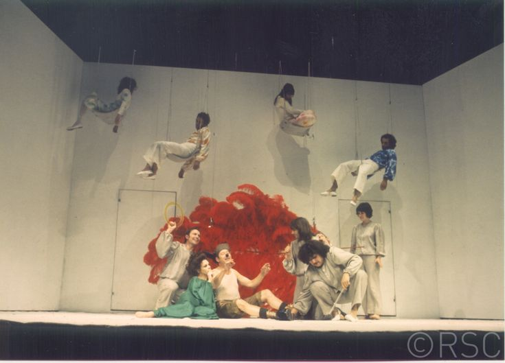 A Midsummer Night's Dream, 1970, directed by Peter Brook, designed by Sally Jacobs. The photograph shows Mary Rutherford as Hermia, Christopher Gable as Lysander, Frances De La Tour as Helena, Ben Kingsley as Demetrius, Sara Kestelman as Titania, David Waller as Bottom and Ralph Cotterill, John York, Hugh Keays Byrne, and Celia Quicke as the Fairies, Act 4 Scene 1.  (Photo: Reg Wilson). RSC.