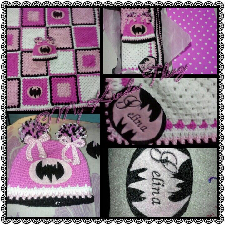 My Crochet Batman Blanket And Hat Set For A Little Girl Named Selina