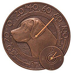 Whitehall Labrador Outdoor Clock & Thermometer 14″ Diameter