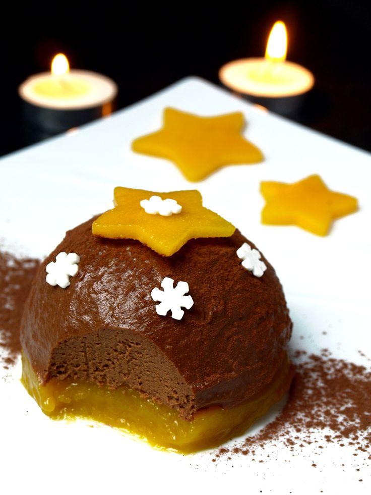 Bûche de Noël sans beurre, sans lait, sans oeuf, sans gluten (saveur chocolat-mangue)