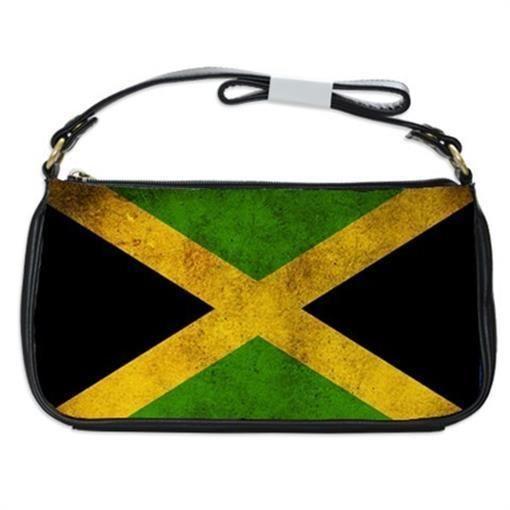 Flag Of Jamaica Jamaican Stylized Handbag Shoulder Bag Black Leather