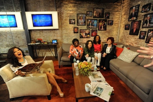 The ladies of The Talk visit CBS This Morning with Charlie Rose, Gayle King and Erica Hill in New York. Julie Chen, from left, Sheryl Underwood, Sara Gilbert, Aisha Tyler and Sharon Osbourne.