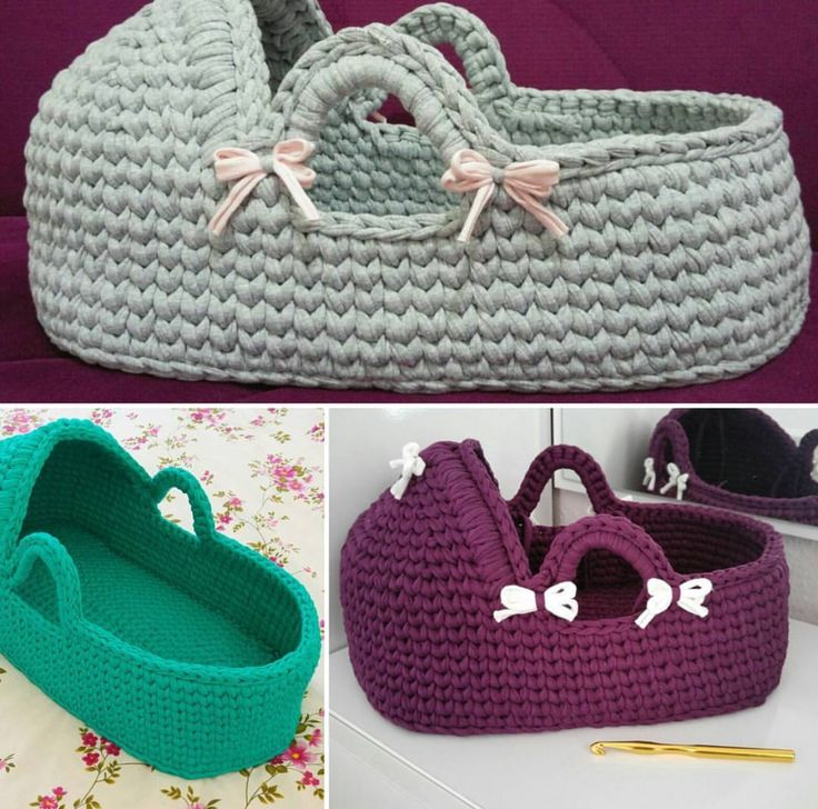 Crocheted babies carry cot