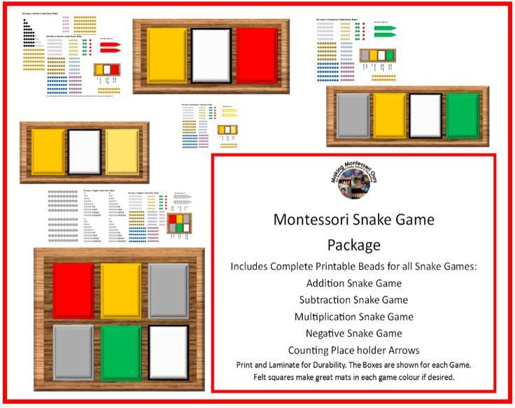 Making Montessori Ours Education Printables: Montessori Snake Games - Addition, Subtraction, Multiplication, Elementary Negative Printables!...
