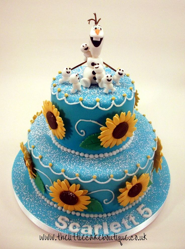 Frozen Fever - Inspired by Anna's Blue Sunflower Birthday Cake with Olaf and his Mini snowmen