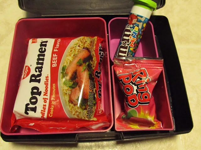 April Fool's Day Lunch - put real lunch items in junk food wrappers. I'm sooooo doing this!!!