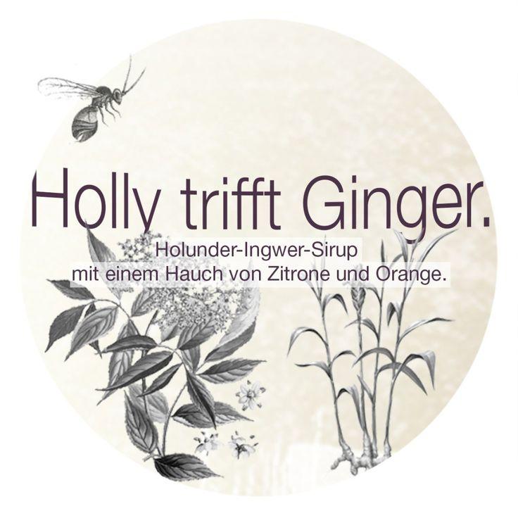 Holly trifft Ginger. | Etikett. Rezept dazu gibt es hier: http://kiraton.com/holly-trifft-ginger-rezepte-mit-holunderblueten/