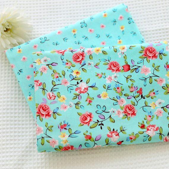 DIY VB cotton fabric printed fabric flower fabrics blue fabric AB version-Cotton fabric, bedding fabric, bag fabric,curtain fabric-1/2 yard