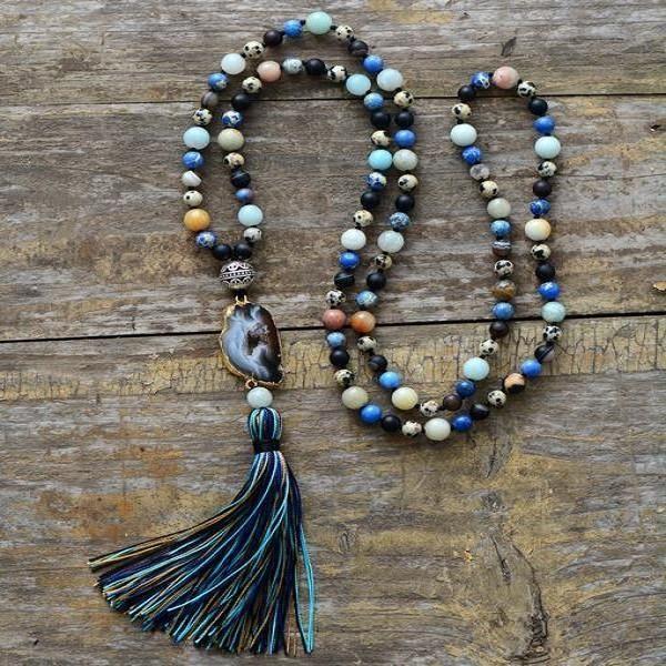 Luxury Druzy Necklace | Handmade Tassel Necklace | Boho Necklace