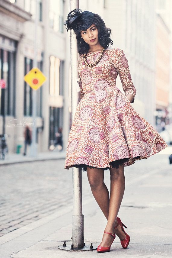 "African Print Dress - ""Jackie O Dress"" ~Latest African Fashion, African Prints, African fashion styles, African clothing, Nigerian style, Ghanaian fashion, African women dresses, African Bags, African shoes, Kitenge, Gele, Nigerian fashion, Ankara, Aso okè, Kenté, brocade. ~DK"