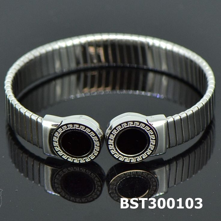 Fashion Stainless Steel Silvery Bangle Onyx#BST300103