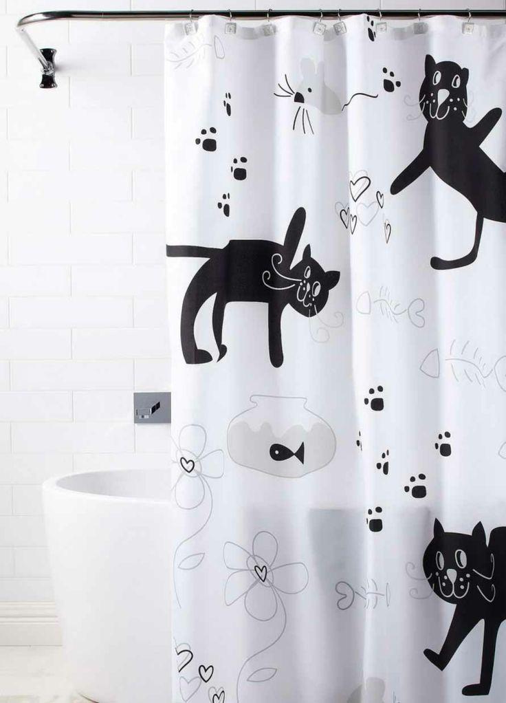 Lustige Badaccessoires   Duschvorhang Schwarze Katzen