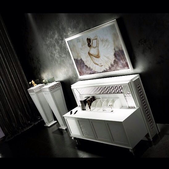 Tv stand with biofireplace -luxury furniture Made in italy  by vismara design the sole and original