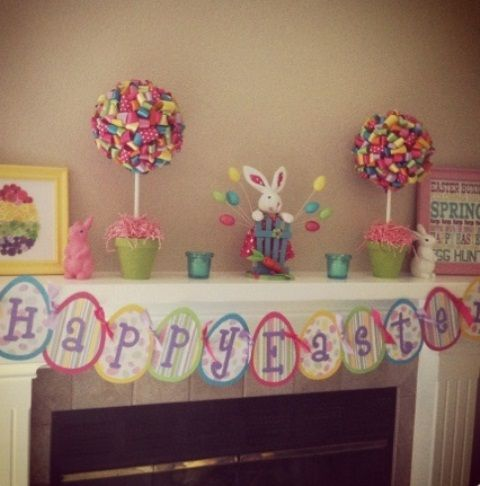 43 Stylish Easter Mantel Decorating Ideas | DigsDigs bunting & topiaries