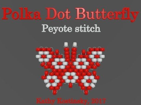 Bead Butterfly Weaving Marathon. Butterfly #28 - Polka Dot. Beading Cartoon - YouTube
