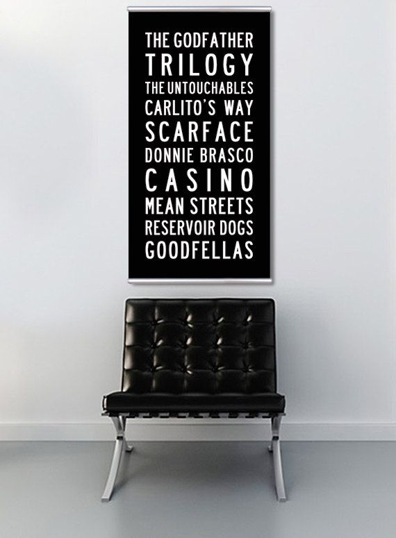 Movie Art Gift for Him. Mob Gangster Films Bus Scroll Subway Art. The Godfather, Goodfellas, Scarface. READY to HANG 15.5x30inch Canvas Art.. $125.00, via Etsy.