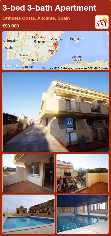 3-bed 3-bath Apartment in Orihuela Costa, Alicante, Spain ►€93,000 #PropertyForSaleInSpain