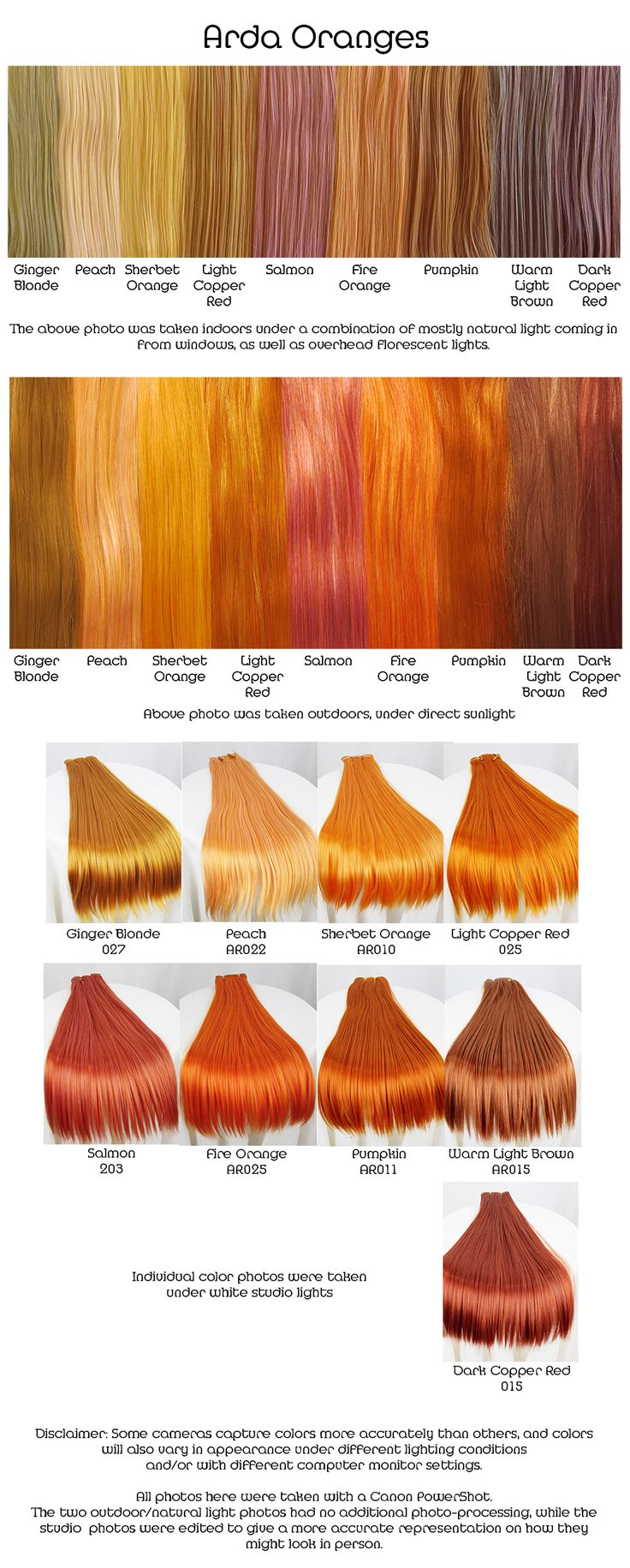 Arda oranges, wig fiber color pallette.