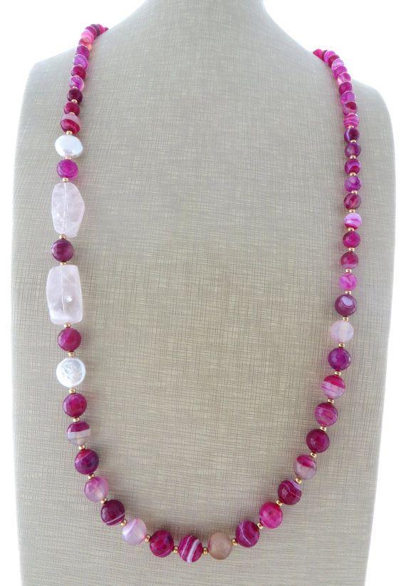 Hot pink agate necklace rose quartz necklace by Sofiasbijoux